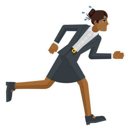 Business Woman Stress Tired Running Race Concept