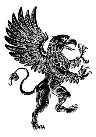 Griffin Rampant Griffon Coat Of Arms Crest Mascot Vektorgrafik