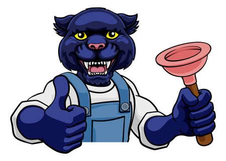 Panther Plumber Cartoon Mascot Holding Plunger