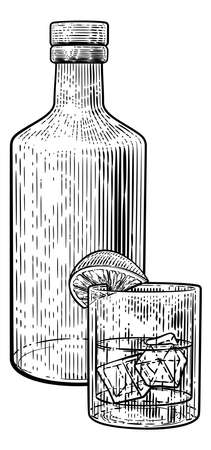 Cocktail Bottle and Glass with Ice Vintage Woodcut