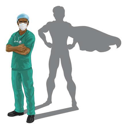 Superhero Nurse Doctor with Super Hero Shadow Векторная Иллюстрация
