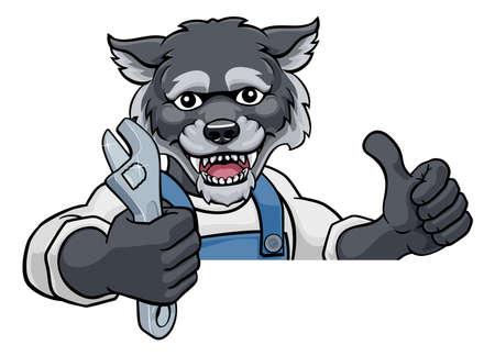 Wolf Plumber Or Mechanic Holding Spanner Vektorové ilustrace
