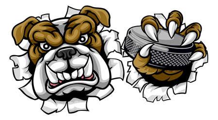 Bulldog Ice Hockey Player Animal Sports Mascot