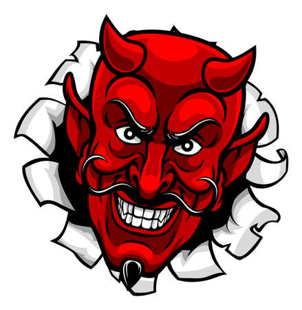 Devil Satan Evil Mascot Cartoon Face Vektoros illusztráció