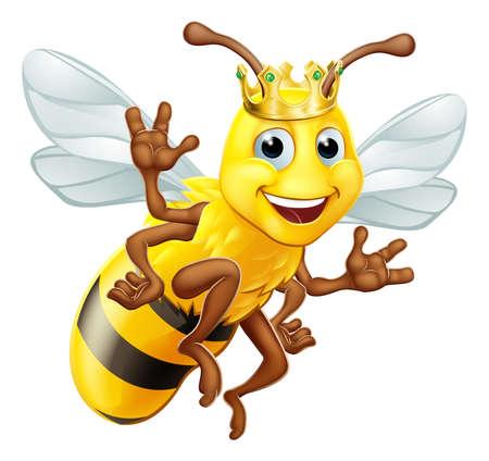 Queen Honey Bumble Bee Bumblebee in Crown Cartoon