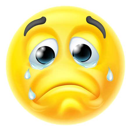 Crying Sad Emoticon Cartoon Face
