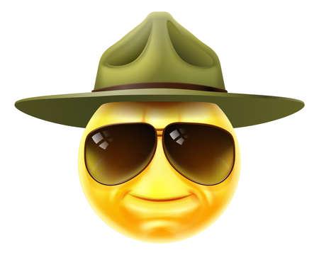 Happy Drill Sergeant Emoticon Cartoon Face Ilustración de vector