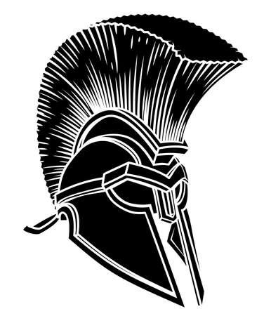 Ancient Greek Spartan Helmet Ilustración de vector