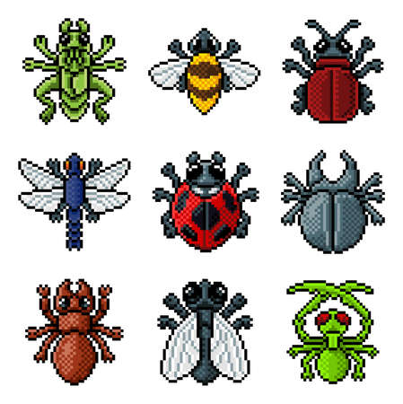 Bug Insect Pixel Art Video Game Beetle 8 Bit Icons