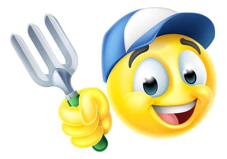 Gardener Emoticon Cartoon Face