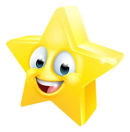 Star Happy Emoticon Cartoon Face