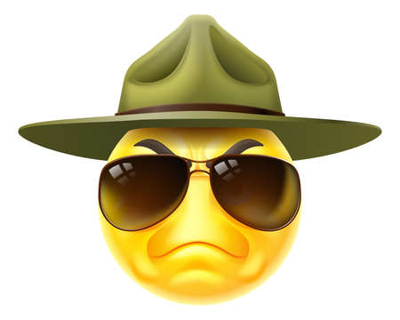 Angry Drill Sergeant Emoticon Cartoon Face Vetores
