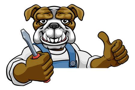 Bulldog Electrician Handyman Holding Screwdriver Vektorgrafik
