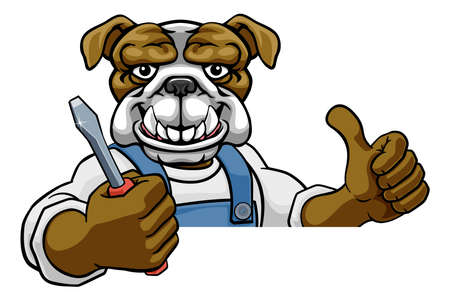 Bulldog Electrician Handyman Holding Screwdriver Vector Illustration