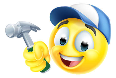 Handyman Cartoon Emoji Emoticon Face With Hammer Ilustração Vetorial