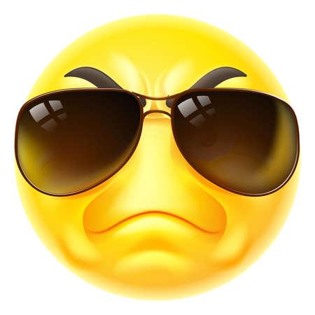 Tough Cartoon Emoji Emoticon Face In Sunglasses