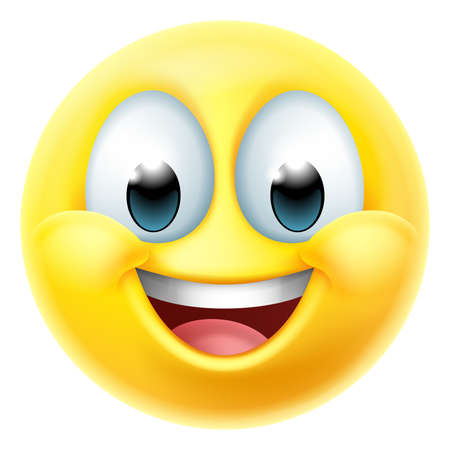 Happy Smiling Cartoon Emoji Emoticon Face Icon Vektorové ilustrace