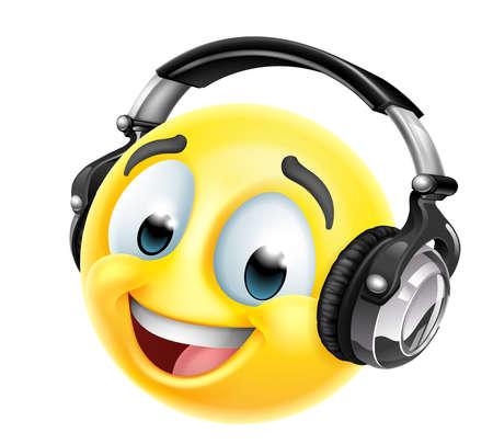 Cartoon Emoticon Face Icon With Music Headphones