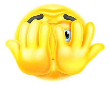 Cartoon Emoticon Face Icon Hiding Behind Hands