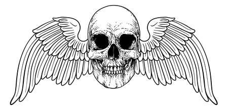 Winged Skull Vintage Woodcut Illustration Vettoriali