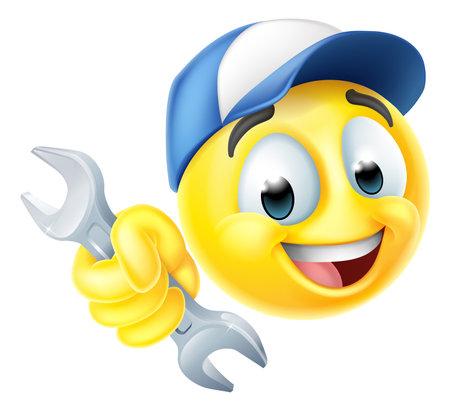 Mechanic or Plumber Spanner Emoticon Emoji Icon Vektoros illusztráció