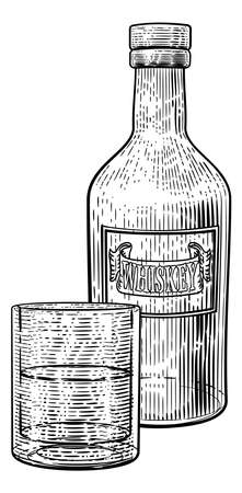 Whiskey Bottle and Glass Drink Engraving Etching