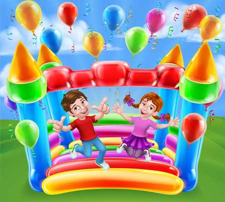 Bouncy House Castle Jumping Girl Boy Kids Cartoon Векторная Иллюстрация