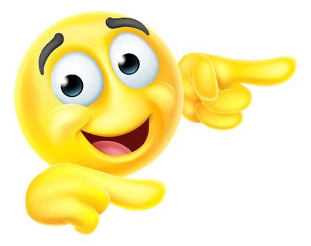Pointing Emoticon Emoji Face Cartoon Icon