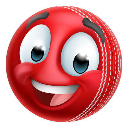 Cricket Ball Emoticon Face Emoji Cartoon Icon Vetores