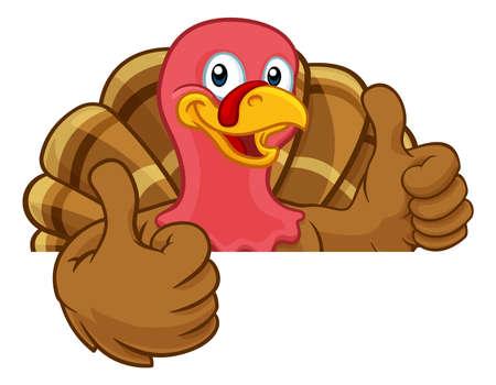 Turkey Thanksgiving or Christmas Cartoon Character