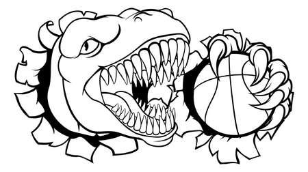 Dinosaur Basketball Player Animal Sports Mascot