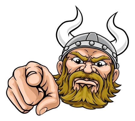 Viking Pointing Finger At You Mascot Cartoon Vecteurs