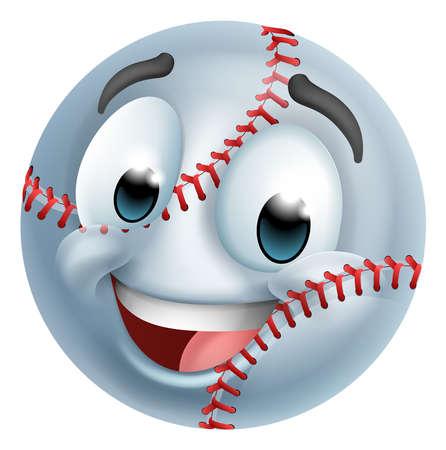 Baseball Ball Emoticon Face Emoji Cartoon Icon Vektorgrafik