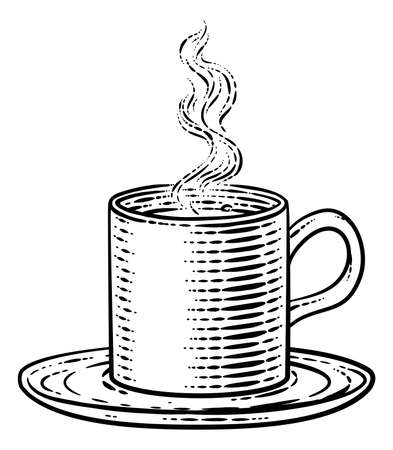 Coffee Tea Cup Hot Drink Mug Vintage Retro Etching