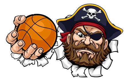 Pirate Basketball Ball Sports Mascot Cartoon Иллюстрация
