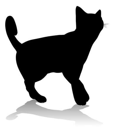 Silhouette Cat Pet Animal Иллюстрация