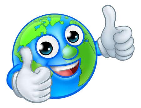 Earth Globe World Mascot Cartoon Character Иллюстрация