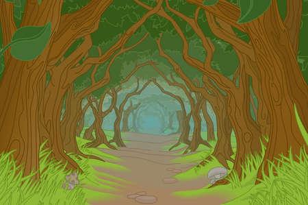 Forest Trees Background Fantasy Landscape Scene