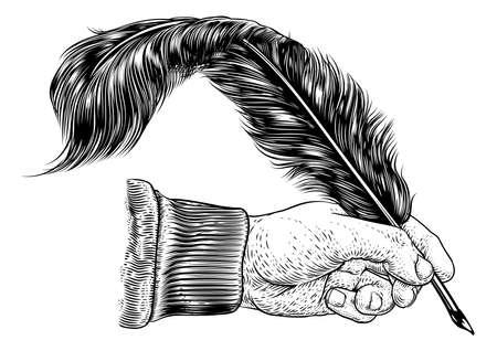 Quill Feather Ink Pen Hand Vintage Woodcut Print Ilustración de vector