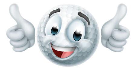 Golf Ball Emoticon Face Emoji Cartoon Icon Иллюстрация