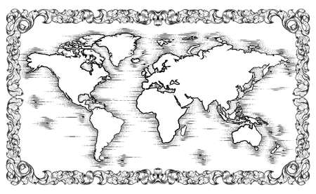 World Map Drawing Old Woodcut Engraved Style Иллюстрация