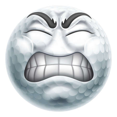 Angry Mad Golf Ball Hate Emoticon Cartoon Face