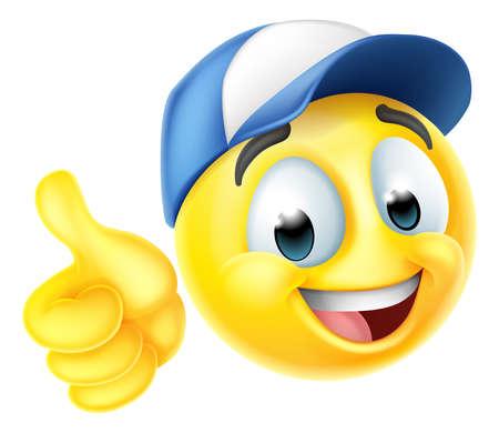 Cartoon Emoji Emoticon Face Wearing A Cap Hat Ilustración de vector