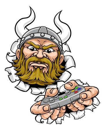 Viking Gamer Video Game Controller Mascot Cartoon
