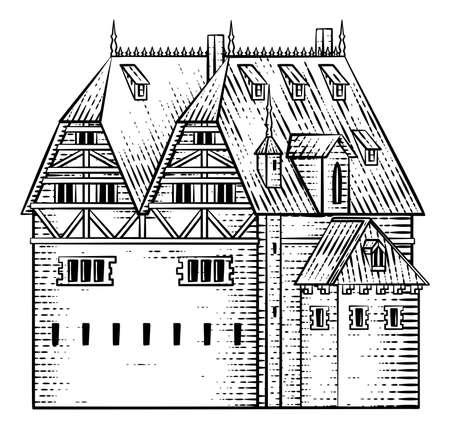 Old Medieval House Inn Building Vintage Woodcut