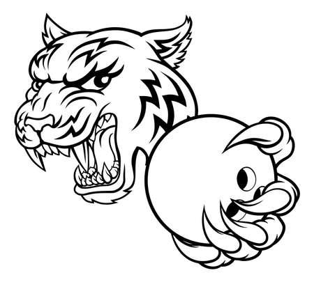 Tiger Bowling Player Animal Sports Mascot Иллюстрация