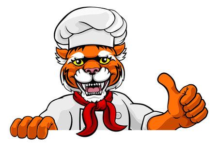 Tiger Chef Mascot Sign Cartoon Character
