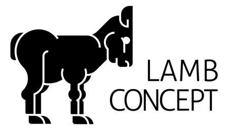 Lamb Sign Label Icon Concept