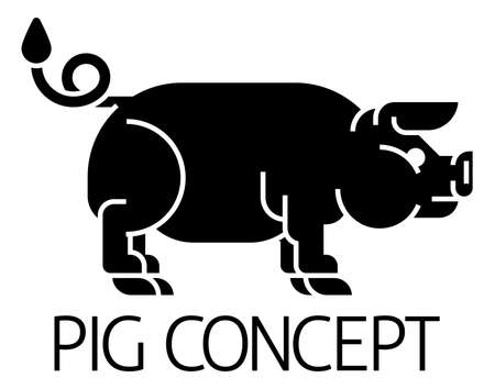 Pig Sign Label Icon Concept