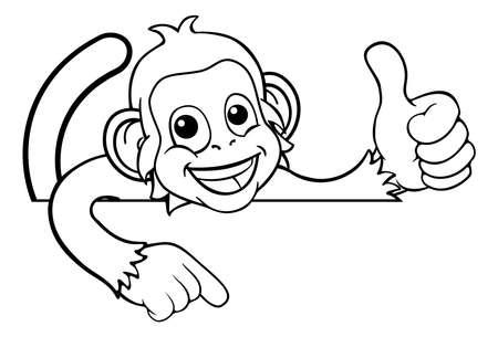 Monkey Cartoon Animal Pointing Thumbs Up Sign Иллюстрация